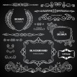Vintage style chalkboard design elements, set of drawing doodles, frames, ornaments, corners, calligraphic design elements and cute decorations, retro decor — Stock Vector