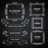 Vintage chalkboard photo frames set, drawing doodle style, antique ornamental and cute calligraphic design elements and creative decorations, retro decor, grunge floral patterns template for design — Stock Vector