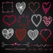 Valentine's day in chalkboard style, red, white and pink beautiful drawn hearts — Stock Vector #47259289