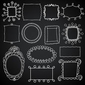 Vintage photo frames set, chalkboard vector design elements, drawing doodle style — Stock Vector