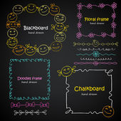 Photo frames and borders set of hand drawn kids smiles, chalkboard style cute design elements — Stock Vector