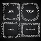 Vintage photo frames set, chalkboard design elements, drawing doodle style — Stock Vector