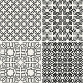 Abstract, modern backgrounds set, geometric seamless patterns, islam style ornaments — Stock Vector