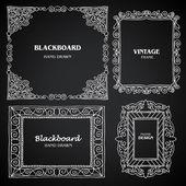 Vintage photo frames set, chalkboard design elements, drawing doodle style — Stock Vector