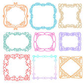 Cute photo frames set, kids style design elements, drawing doodle style — Stock Vector