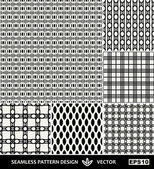 Abstract backgrounds set, Retro style seamless patterns, trendy style 40th, 50th, 60th, 70th, 80th , 90th — Stockvektor