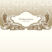 Vintage wedding invitation card, antique background, luxury greeting card — Stock Vector