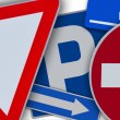 Few european traffic signs mixed together — Zdjęcie stockowe