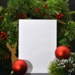 Christmas Background.Blank Paper Sheet with Decoration — Stock Photo