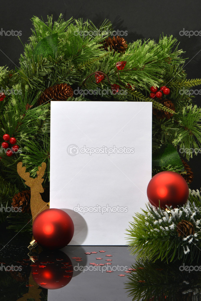 Christmas Background.Blank Paper Sheet with Decoration  Foto de Stock   #14914269
