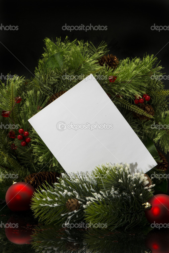Christmas Background.Blank Paper Sheet with Decoration — Stock Photo #14914299