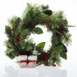 Christmas decorative wreath on white - Stock Photo