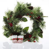 Christmas decorative wreath on white — Stock Photo
