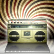 Vintage stereo player in spiral background. - Stock Photo