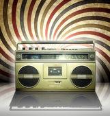 Spiral arka planda vintage stereo oyuncu. — Stok fotoğraf