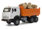 Toy truck with cork stopper for a wine bottle — Stock Photo