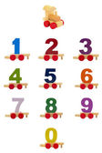 Toy train with numbers — Zdjęcie stockowe