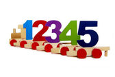 Toy train with numbers — Stock Photo