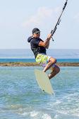 Kitesurfer in the air of Crimea — Stock Photo