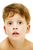 Close up portrait of cute little boy on white background — Stock Photo