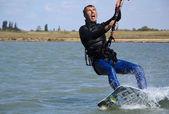 Young Man KiteBoarding, Extreme Sport Kitesurfing — Stock fotografie