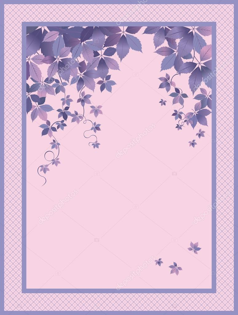 Lilac Background with leaves avd space for your text — Stock Vector #12526777