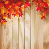 Autumn background with leaves on a wood texture — Stock Vector