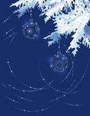 Christmas tree branch on a dark blue background — Vector de stock