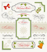 Christmas collection of calligraphic design elements — Vettoriale Stock