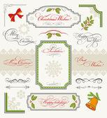 Collection de noël d'éléments de dessin calligraphique — Vecteur
