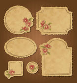 Set of retro floral vintage frames and labels — Stock Vector