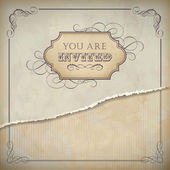 Vintage invitation design with label, text and frame — Stock Vector