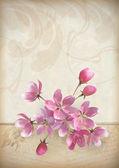 Realistic vector cherry blossom flower arrangement spring design with a beautiful bouquet of pink flowers, ragged edge of ornate old paper, sketchy flowers and text on vintage grunge background — Cтоковый вектор