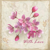 Artistic vector floral design with hand drawn flowers, a beautiful bouquet of realistic pink flowers, grunge calligraphic text and 'With Love' lettering on vintage old paper background in retro style — Cтоковый вектор