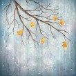 Stock Vector: Autumn season rainy weather artistic design. Tree branch, yellow leaves, transparent water drops on foggy gray blur natural wallpaper background. Beautiful wet autumn fall realistic vector landscape
