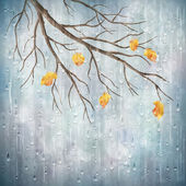 Autumn season rainy weather artistic design. Tree branch, yellow leaves, transparent water drops on foggy gray blur natural wallpaper background. Beautiful wet autumn fall realistic vector landscape — Cтоковый вектор