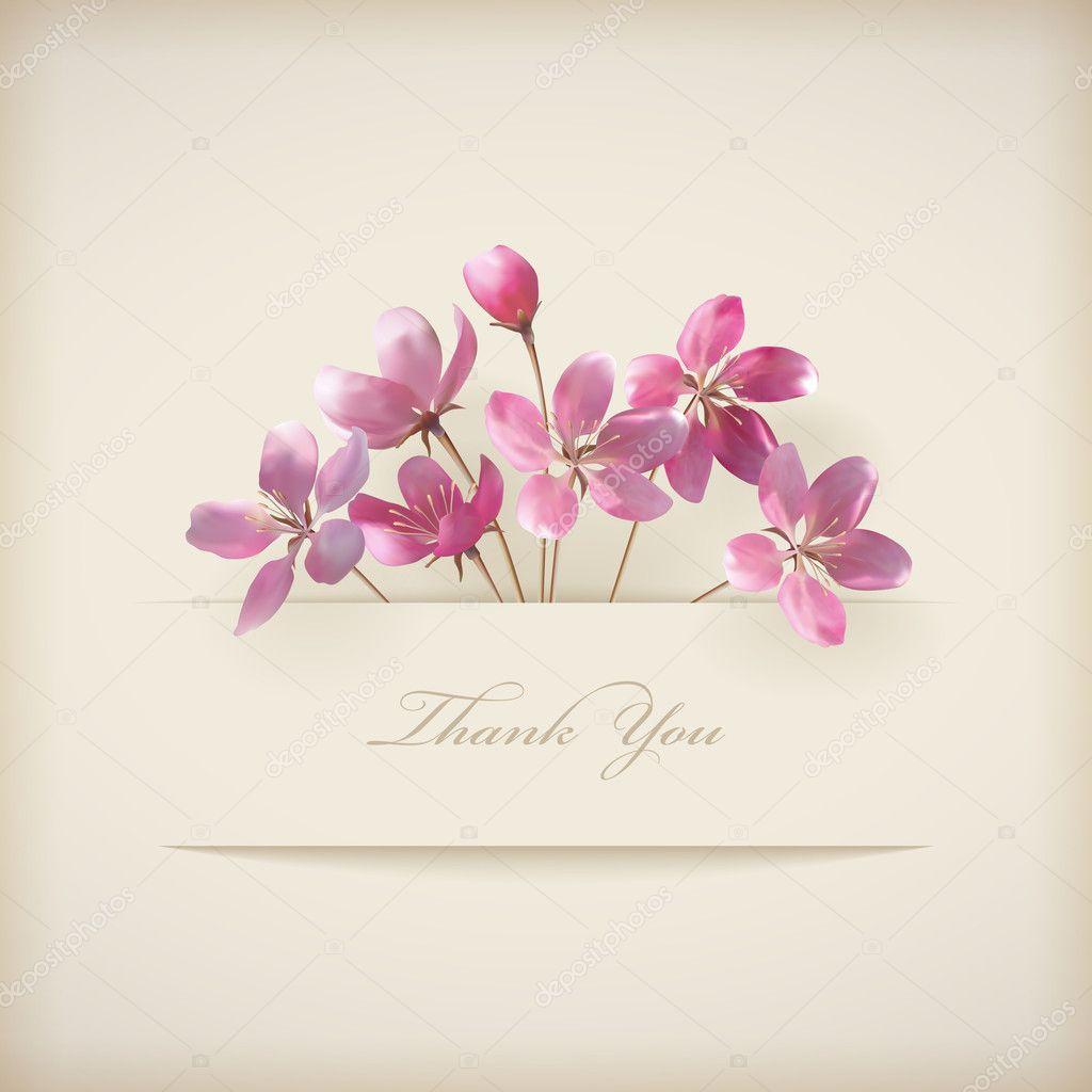 Beautiful Flower Thank You: Obrigado Cartão Floral Com Belas Flores Rosa Primavera