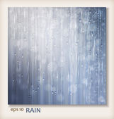 Grey shiny rain. Abstract water background design. Rainy weather vector silver background with falling in transparent drops, water raindrops on window, ripple texture and blurred lights in wet day — Cтоковый вектор