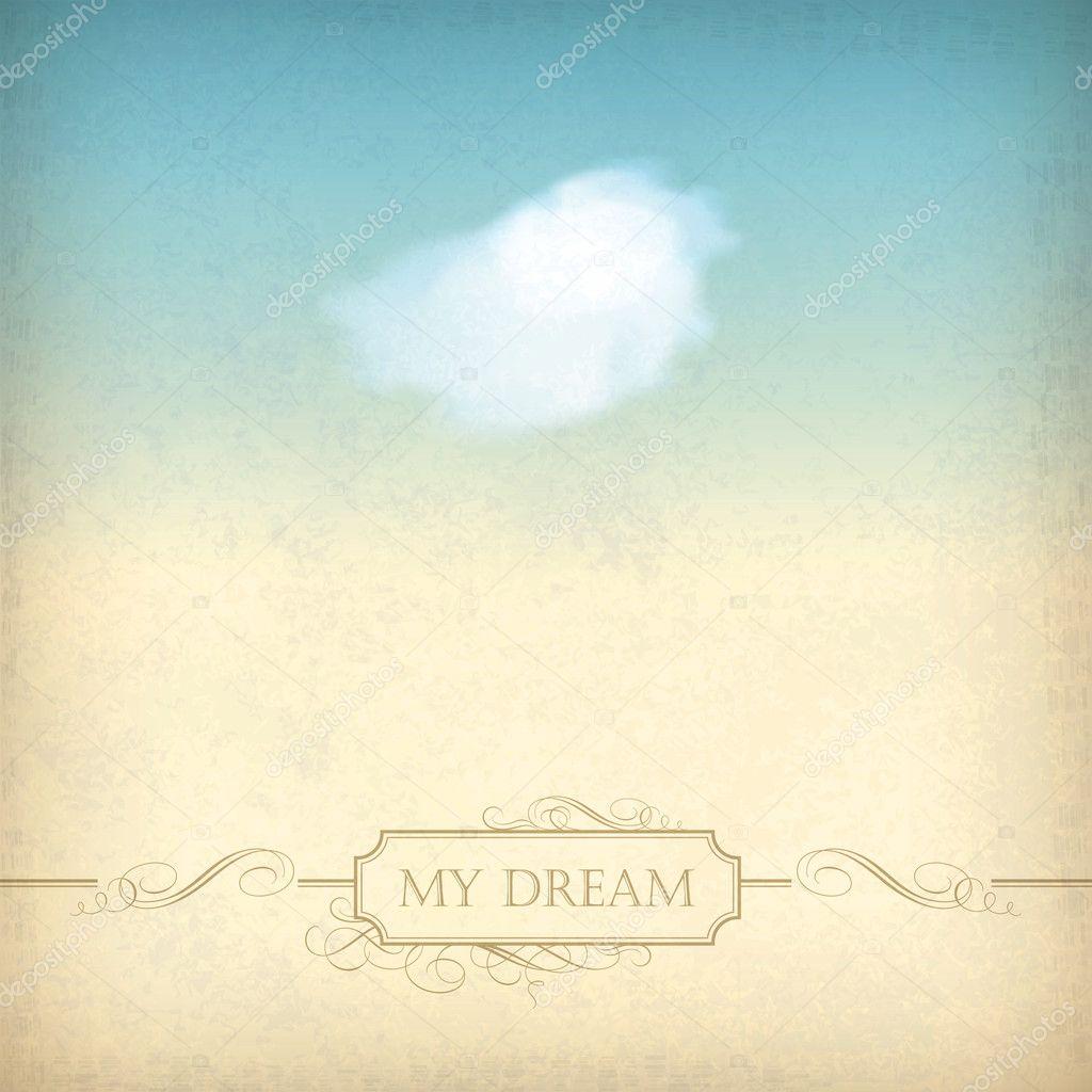 Vintage Sky Old Paper Background Single White Cloud