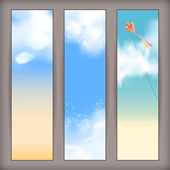Sky vector banners with white fluffy clouds, blur, flying kite and space for text at the backdrop in blue and beige pastel colors. Vertical background design — Stock Vector