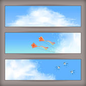 Sky banners with white fluffy clouds, blur, flying kites and birds (swallows) on a clear summer day. Horizontal vector background design with space for text at the backdrop in blue pastel colors — Stock Vector