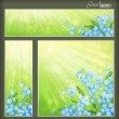 Green banners set with flowers and blurred sunrays — Stock Vector