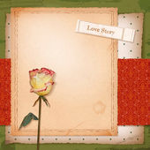 Scrapbook retro design with grunge paper background, dried flower (rose), vintage wallpaper pattern, sketch frame, old ticket with text 'Love Story' — Stock Vector