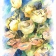 Flower watercolor bunch of colorful roses — Stock Photo