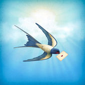 Sky Bird Letter Mail — Stock Vector