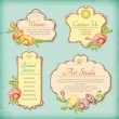 Stock Vector: Set of vintage antique styled labels with flowers