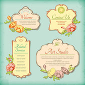 Set of vintage antique styled labels with flowers — Stock Vector