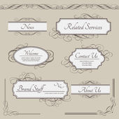 Set of vintage vector labels, frames, borders — Vettoriale Stock