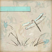 Vector vintage grunge sketch dragonfly greeting card with hand drawn flowers, grass, banner with frame for text on old textured paper background — Stock Vector