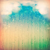 Colorful rain. Vintage abstract grange rainy landscape background. Clouds, water, rain drops, blurred lights on the textured old paper in retro style. Natural sky artistic wallpaper design — Stock Photo